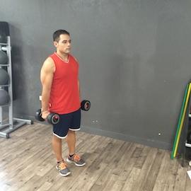 Curl Biceps Con Mancuernas Simultaneo En Bipedestación, paso 1